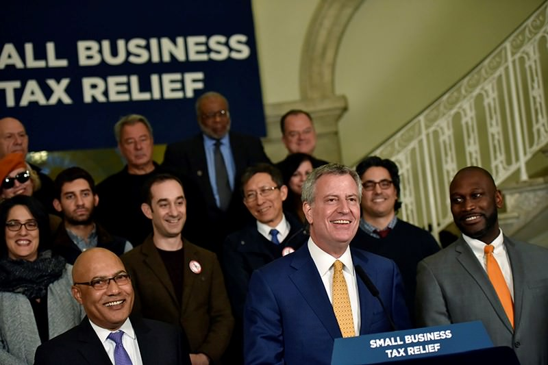 Mayor Bill de Blasio, Speaker Melissa Mark-Viverito and Council Member Dan Garodnick announce new bill that would make changes to the Commercial Rent Tax (CRT)